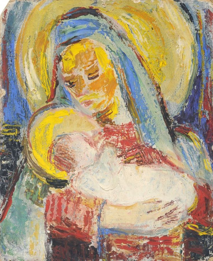 """Hans Trimborn, Madonna with child. No date. Oil on cardboard. In lead indistinctly signed """"H. Trimbornstraße"""" u.li. Verso with a Geisselungsszene in oil. size: 30.2 x 24.6 cm.  Hans Trimbornstraße 1891 Plintersdorf in Bonn - 1979 North 1913-16 Medical studies at the Rheinische Friedrich-Wilhelms University in Bonn. During this period, he devoted himself with his friends Paul Adolf Seehaus and August Macke to the study of nature. Trimborn never received art or painting lessons and never went…"""