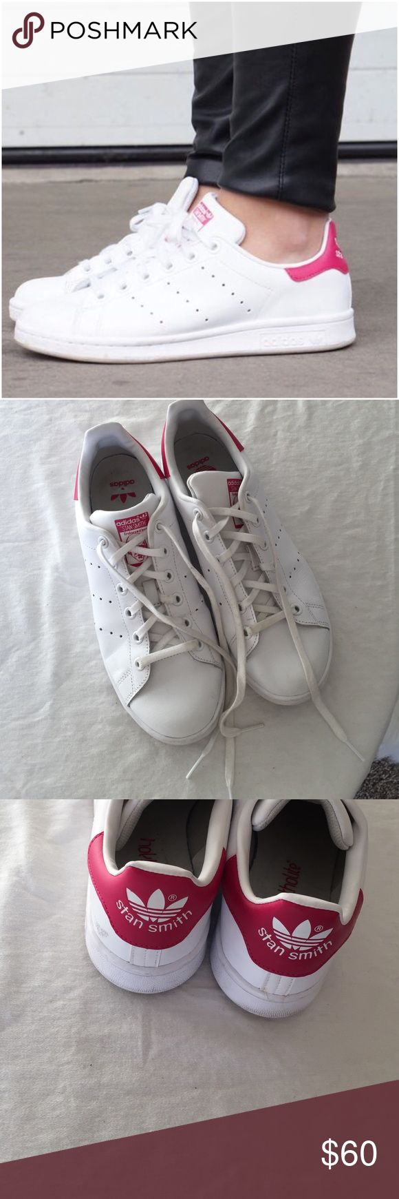 adidas, Stan smith, hot pink, size 6.5 Hard to find.. adidas stan smith with bold pink backs, these are priced lower then womens because they are  a kids shoe. they will fit a womens size 6.5, great preowned condition. no trades.  Removable insole. Lace-up style. Leather and synthetic upper/textile and synthetic lining/rubber sole. Adidas Shoes Sneakers