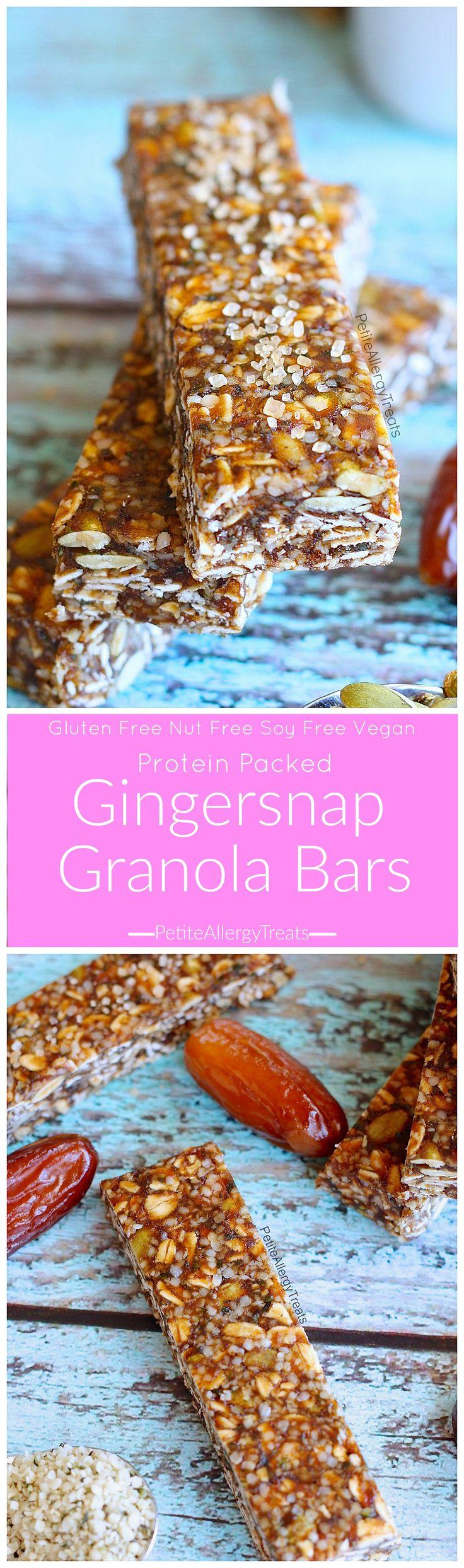 Protein Gingersnap Granola Bars Recipe (nut free Vegan)- Healthier gluten free protein packed gingersnap granola bars. Food Allergy Friendly.
