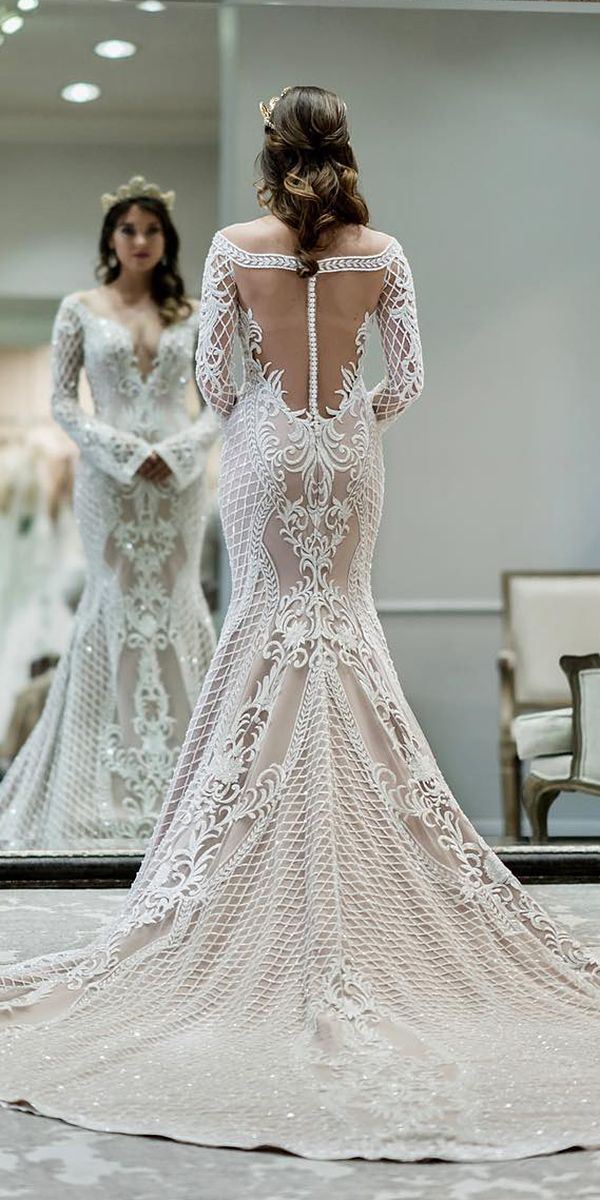 39 Vintage Wedding Dresses You Will Fall In Love ❤️ vintage wedding dresses mermaid with long sleeves illusion-back buttons jaton couture ❤️ Full gallery: https://weddingdressesguide.com/vintage-wedding-dresses/ #bride #wedding #bridalgown #vintageweddingdress