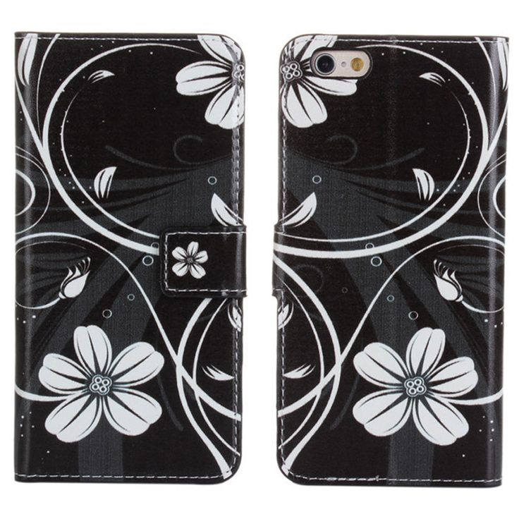 New Case - Apple iPhone 6 Black with White Flowers Designer Printed Wallet Case, $16.95 (http://www.newcase.com.au/apple-iphone-6-black-with-white-flowers-designer-printed-wallet-case/)