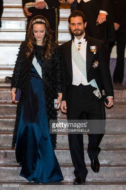 Princess Sofia of Sweden and Prince Carl Phillip of Sweden attend a formal gathering at the Swedish Academy on December 20 2017 in Stockholm Sweden