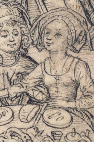 detail from 'Merkur und seine Kinder', after 1489, Housebook Master of castle Wolfegg, South Germany sleeveless kirtle