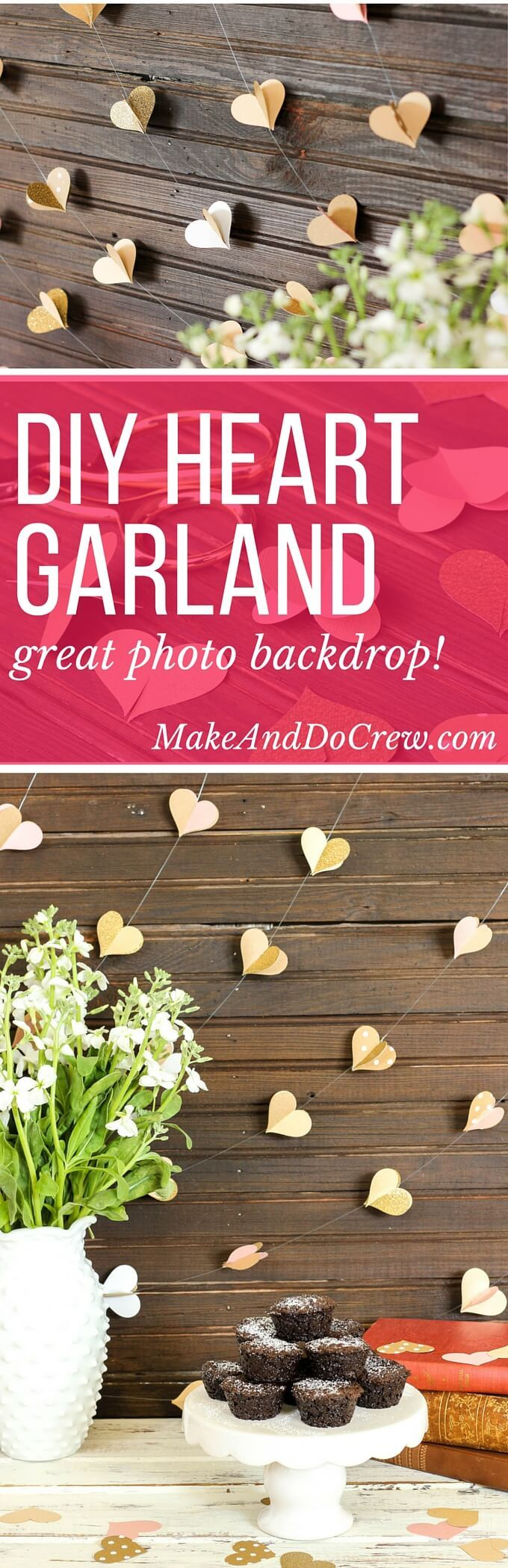 This handmade paper heart garland also adds beautiful texture and a hint of charm as a wedding photo booth backdrop. It makes a super sweet DIY Valentine's Day decor idea, too! Bonus: easy craft project to use up your scrapbooking paper scraps! Click to view full tutorial. | MakeAndDoCrew.com