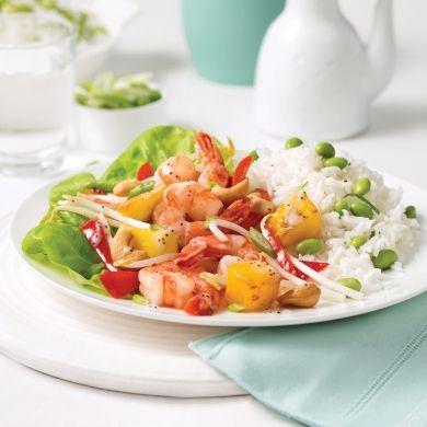Sauté de crevettes, fèves germées et mangue - Soupers de semaine - Recettes 5-15 - Recettes express 5/15 - Pratico Pratique