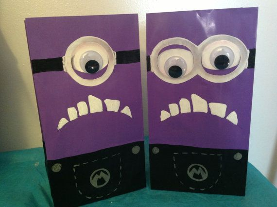 Despicable Me Birthday Party Purple Minion Treat Goody Bags