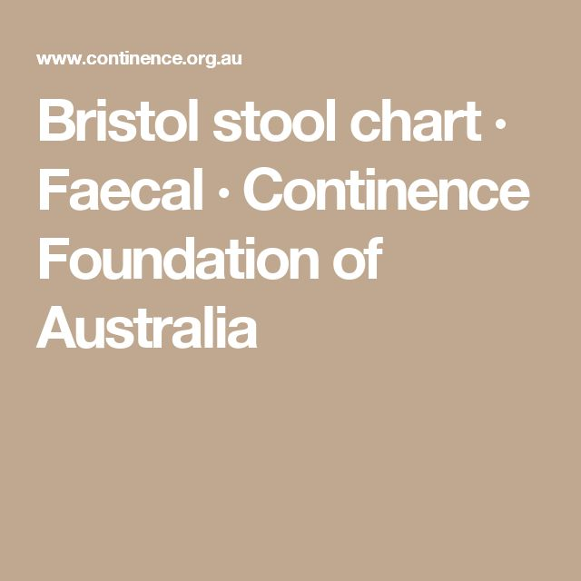 Bristol stool chart · Faecal ·  Continence Foundation of Australia