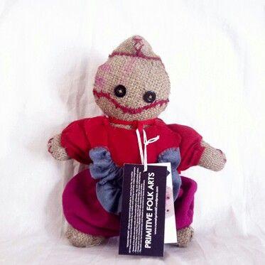 Lil' Red Edgar  #rumahprimitif #burlap #handmade #gunnysack #upcycling #DIY #recycling #dolls #primitivedolls #rag #folkarts
