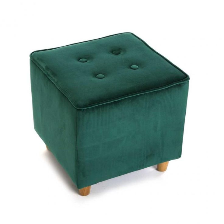Pouf carré velours- tabouret pouf vert anglais - yesdeko.com