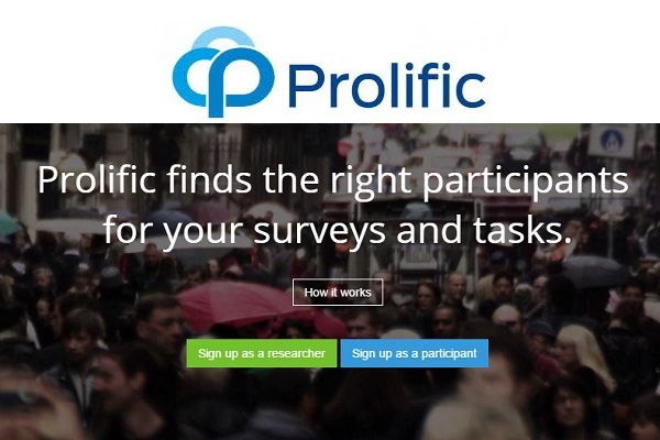 Prolific Academic es un panel de encuestas remuneradas anglosajón que nos paga libras por cada estudio. El mínimo de pago es de sólo 5£ mediante Paypal.