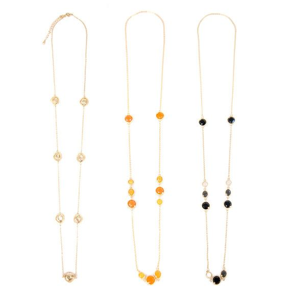 Noir Bubble, Golden Coral and Gold Layered Necklaces