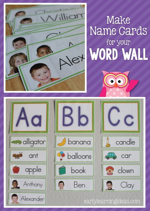 Make name cards for your preschool, pre-k or kindergarten  classroom word wall.  You can also use the name cards for many other early childhood name and literacy activities with these free templates..