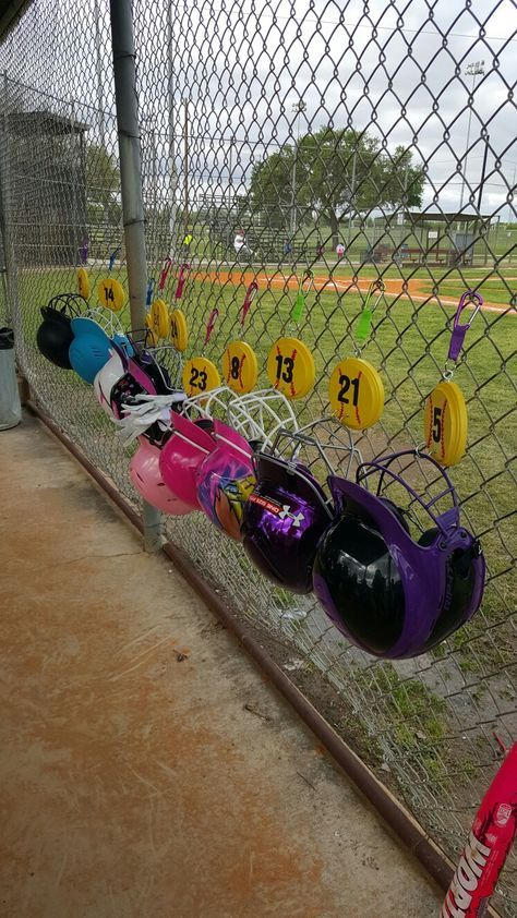 "Softball Helmet Hangers!! I had so much fun making these!! The girls loved them and parents loved that they weren't all over the ground.  You can order them from my Etsy Account: ""Veroishandy """