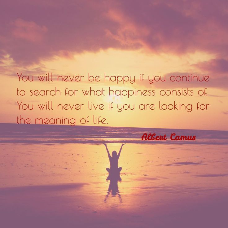 You will never be happy if you continue to search for what happiness consists of. You will never live if you are looking for the meaning of life. - Albert Camus #quote #quotes #happy #happiness #behappy
