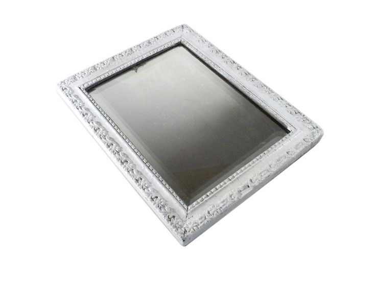 Rectangular White Gray Mirror, Art Nouveau Distressed Mirror, French Grey Wall Hanging Mirror, Square Frieze Wall Mirror, Beveled Glass