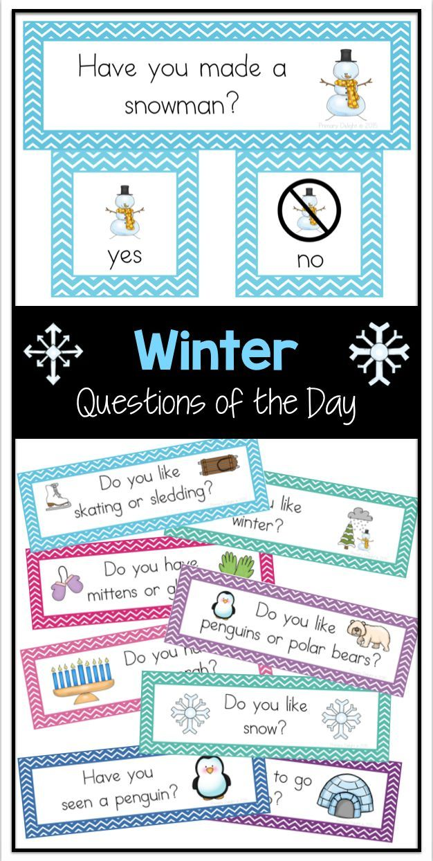 Easy-to-read questions of the day for winter. Use for attendance, morning meeting, graphing and more.