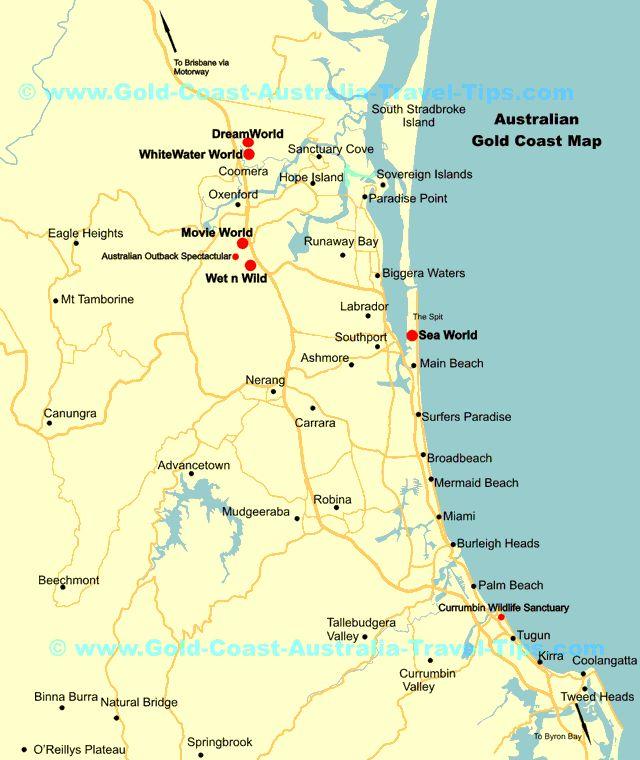 Gold Coast Theme Park Map Showing Major Gold Coast Theme Parks