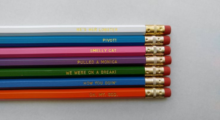 Friends Gold Foil Pencil Set. SET OF 7 pencils packaged in a bag with Friencils sticker.  DEEP PINK · SMELLY CAT BRIGHT BLUE· HOW YOU DOIN LIGHT PURPLE· PULLED A MONICA ORANGE· OH. MY. GOD. REGULAR GREEN· WE WERE ON A BREAK! DEEP TURQUOISE· PIVOT! WHITE· HES HER LOBSTER   PENCIL DETAILS: These are brand new #2 American made pencils with soft pink No-smudge erasers. • 100% Made in the USA   Click here to find pencil sets: https://www.etsy.com/shop/DefineDesignEtc?section_id...