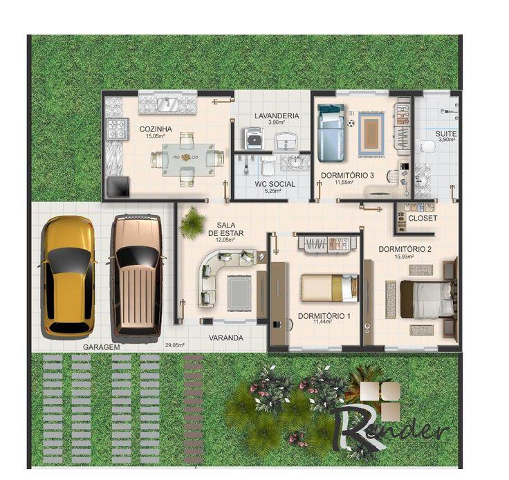 plantas baixas de casas com 3 quartos - Pesquisa Google