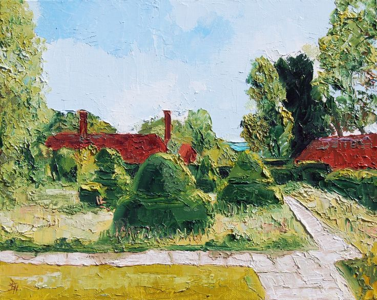 The Topiary Lawn At Great Dixter, Oil painting by Brian Hanson | Artfinder