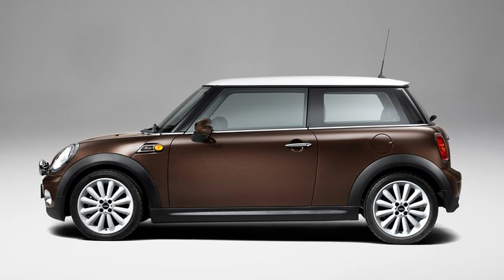 """2010 Mini Cooper Mayfair Edition, side view. """"Hot Chocolate"""" paint style."""