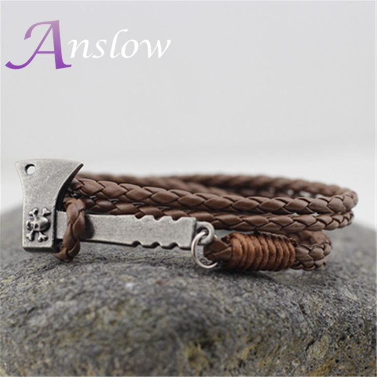 LOW0225LB 2015 New Design Vintage Personalized AX Hatchet Leather Bracelet For Women Men Accessories Birthday Gift Free Shipping