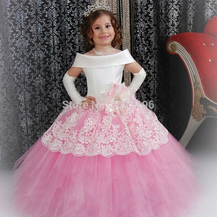 56.58$  Watch here - http://alifcb.worldwells.pw/go.php?t=32739896022 - Gorgeous Custom White Satin Pink Puffy Toddler Ball Gown Girls Frock Designs Abiti Da Comunione Vintage Lace Flower Girl Dresses