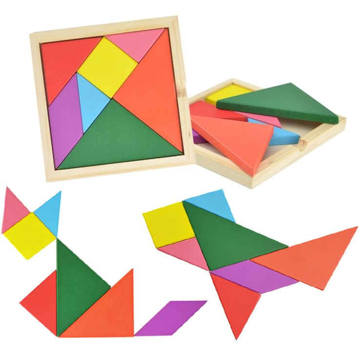 Children mental development tangram wooden jigsaw puzzles for kids beech wood montessori baby Geometry educational toy game play #Affiliate