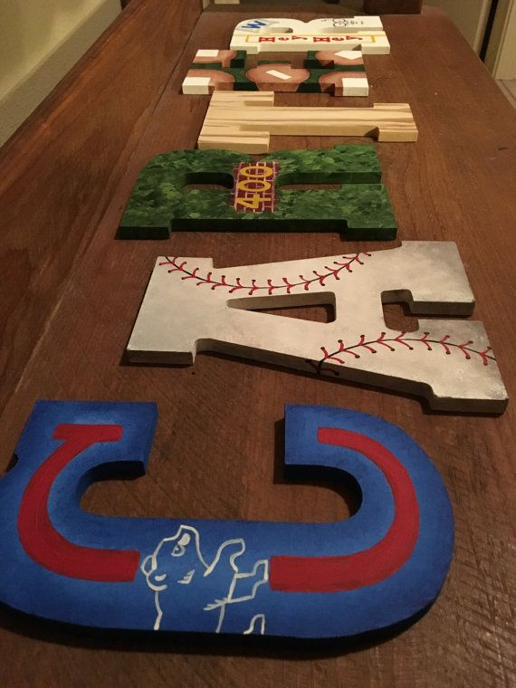 Chicago Cubs Varsity Sports Hand Painted Personalized Wooden Letters Bedroom College Dorm Nursery Party 20 Dollars Per Letter In 2018 Lnlwoodworks