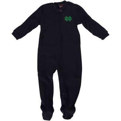 Notre Dame Fighting Irish Infant Sleeve Blocked Blanket Sleeper Bodysuit - Navy Blue