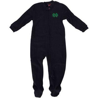 Notre Dame Fighting Irish Infant Sleeve Blocked Blanket Sleeper Bodysuit - Navy Blue