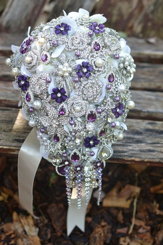 purple and pearl cascading brooch bouquet