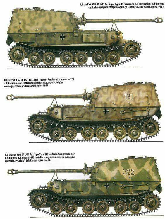 A Color Chart For The Porsche Tiger P Ferdinand German Tiger Tank Variants Of Ww2