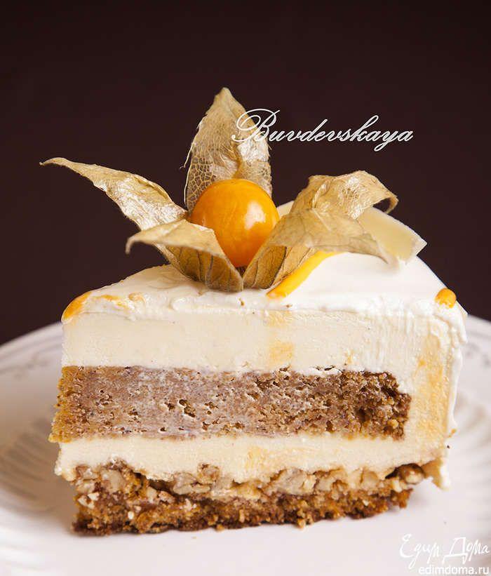 Морковный торт «Беатрис» Попробуйте этот вкусный и нежный морковный торт! Сверху — глазурь на основе сгущенного молока и белого шоколада, внутри — морковные коржи, медовый и сливочно-сырный муссы! #едимдома #готовимдома #рецепты #кулинария #домашняяеда #торт #десерт