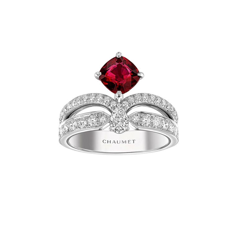 Chaumet Joséphine Eclat Floral ruby engagement ring set in platinum with white diamonds, designed to look like a tiara for your finger. For the regal, classic yet modern bride looking for French romance. http://www.thejewelleryeditor.com/bridal/article/sapphire-engagement-rings-number-one-coloured-gem/ #wedding
