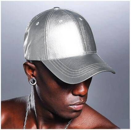 Silver baseball cap for teens shiny hip hop style for spring wear