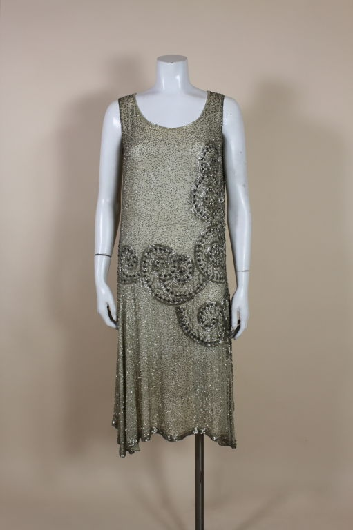 Silver Beaded Spiral Art Deco Flapper Dress circa 1920s