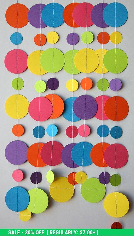 Regenbogen-Papier-Girlande Geburtstag von TransparentEsDecor