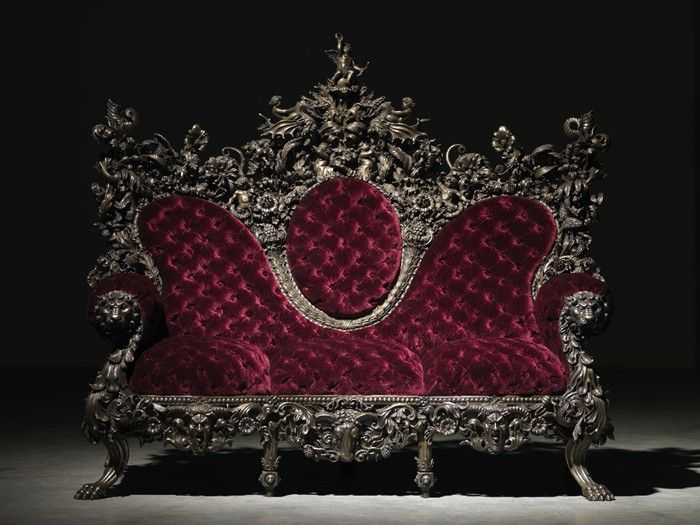 goth gothic couch sofa loveseat victorian velvet edwardian. I will not survive without this..