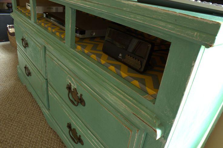 repurposed dresser to entertainment center. Mandy Made: Home-Work
