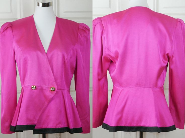 1980s German Vintage Cerise Pink Blazer, European Women's Cerise Jacket w Double-Breasted Flared Waist & Diamante Buttons: Size 8 US, 12 UK by YouLookAmazing on Etsy