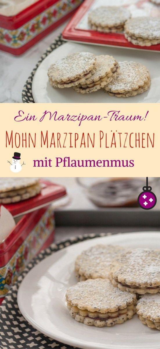 Mohn Marzipan Plätzchen mit Pflaumenmus {Powidl} - ein Weihnachtsplätzchen für Marzipanliebhaber   Poppy Seed & Marzipan Sandwich Cookies with Plum Jam #germanchristmas #plätzchen #christmas #cinnamonandcoriander #weihnachtsbäckerei #marzipan #mohn #pflaumenzeit #pflaumenmus  #christmascookierecipes #poppyseed