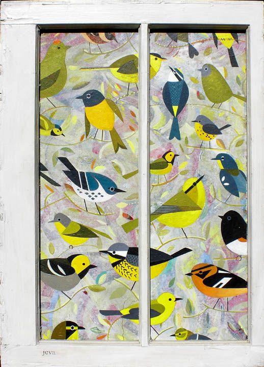bird window, acrylic on panel in found object (2010) - Scott Partridge