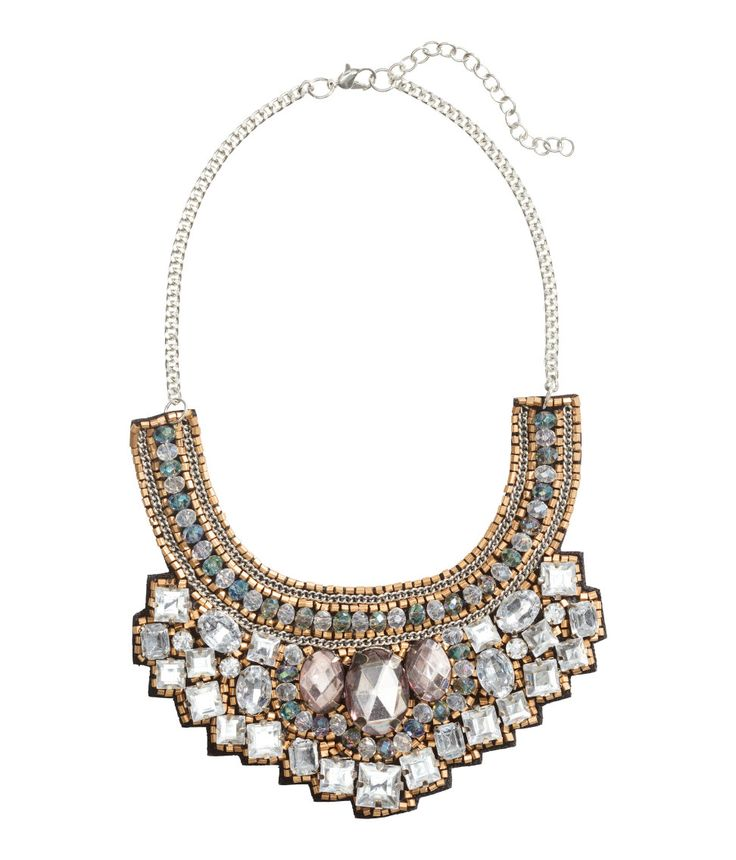 Sparkle in this statement collar necklace with chain & bead embellishments, | H&M Accessories