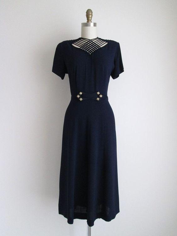 1940's NavyCrepe Dress