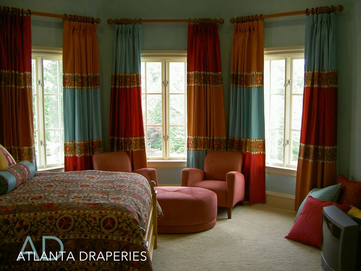 ....When you can't decide on just one fabric. Patchwork Curtains. http://atlantadraperies.com #customdraperies, #customwindowtreatments, #curtains