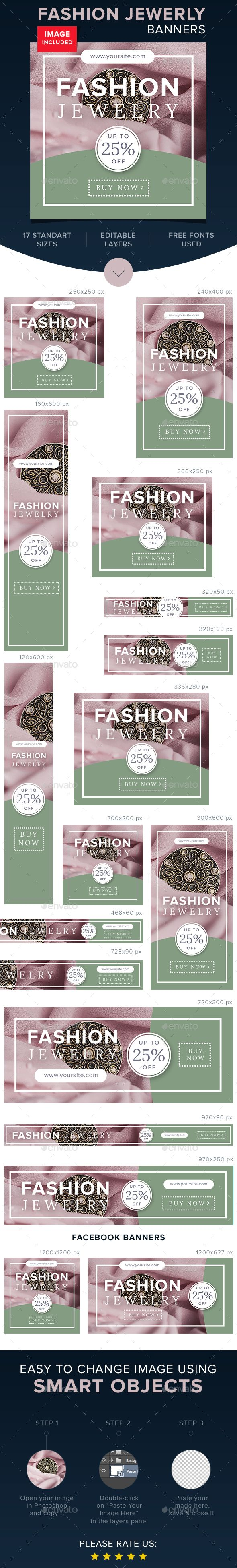 Fashion Jewerly Banners — Photoshop PSD #web banners #promotion • Available here → https://graphicriver.net/item/fashion-jewerly-banners/15966382?ref=pxcr