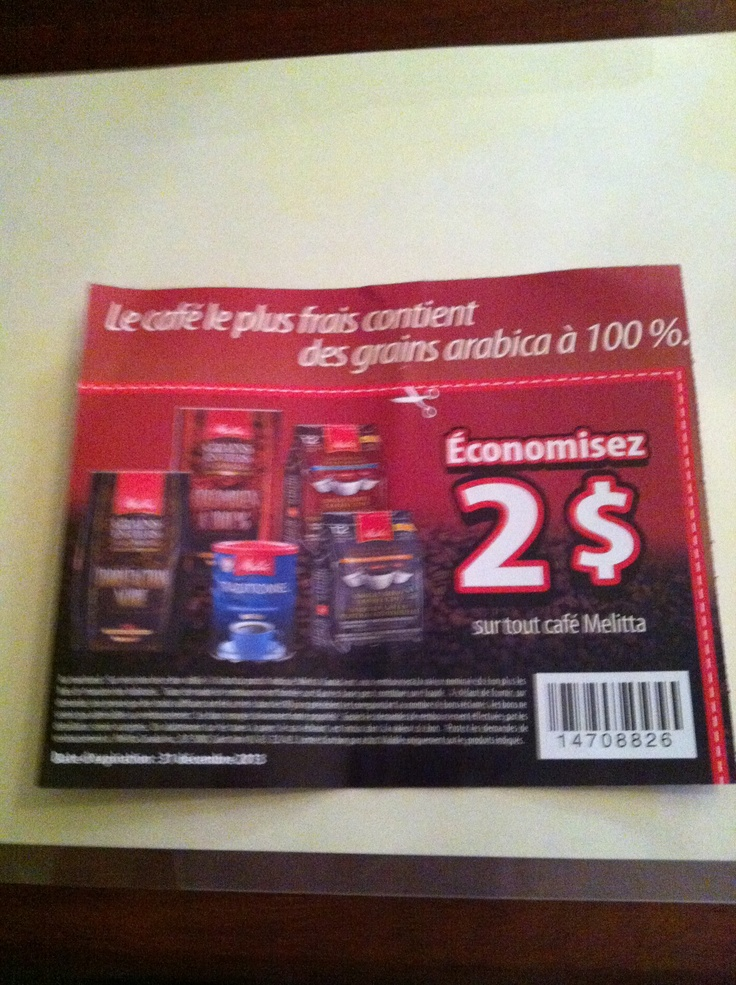 2$ cafe melita bon jusqua 31 decembre 2013
