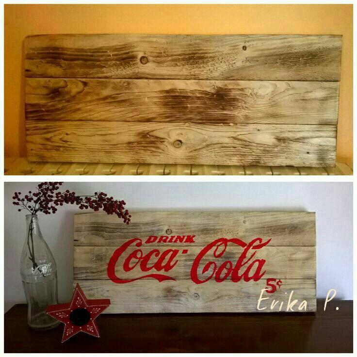 Decape' sign wood coca cola (stencil)