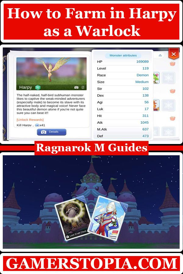 Harpy Farming Guide For Warlocks In Ragnarok Eternal Love See The Best Spots Builds Equips And Card For Farming Z Farming Guide Ragnarok Mobile Eternal Love